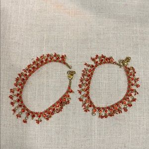 Jewelry - Set of 2Red & Gold beaded Indian/Pakistani Anklets